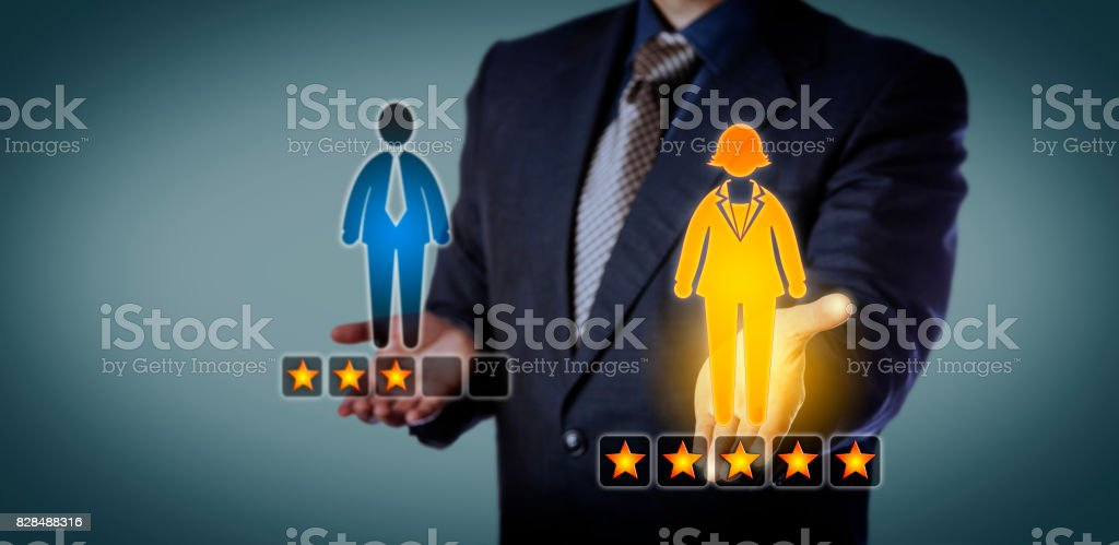 Recruiter Rating Female Employee With Five Stars stock photo