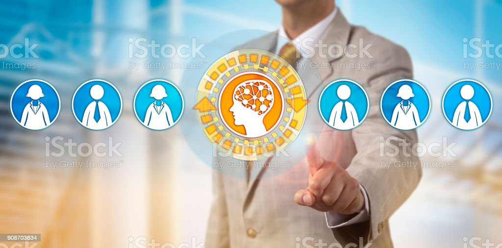 Recruiter Selecting Artificial Intelligence stock photo
