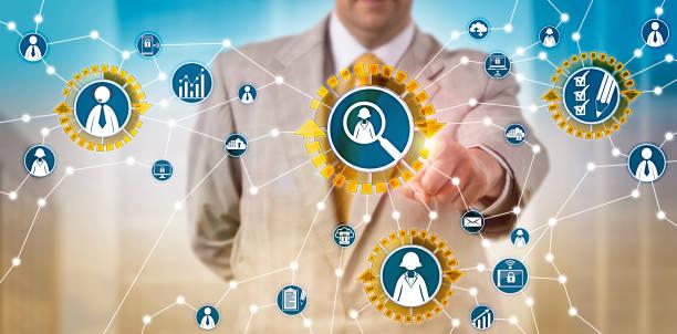 Recruiter Sourcing Via Talent Acquisition App stock photo