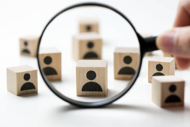 Recruitment concept searching for employee Searching for talent or looking for employee concept using magnifying glass choosing stock pictures, royalty-free photos & images