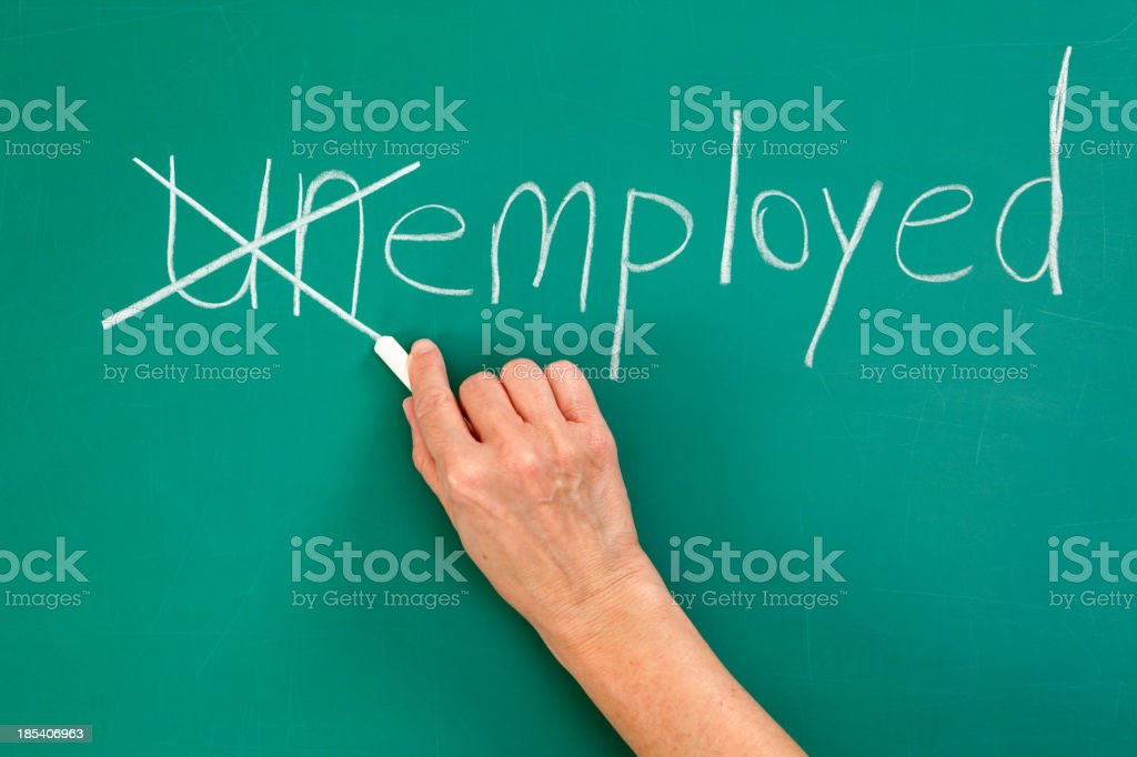 Recruitment or Employment Issues Chalk Drawing Employed Chalk drawing. Changing unemployed to employed.Please also see: Achievement Stock Photo