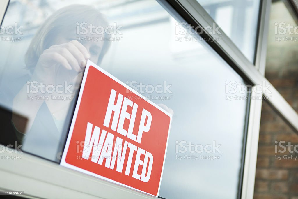 HELP WANTED Recruitment Sign Displayed for Hiring, Employment, Economic Recovery stock photo