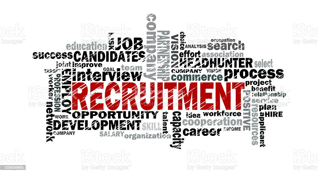 recruitment word cloud stock photo