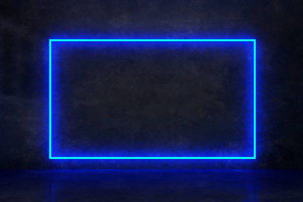 rectangle blue neon on a dark wall stock photo