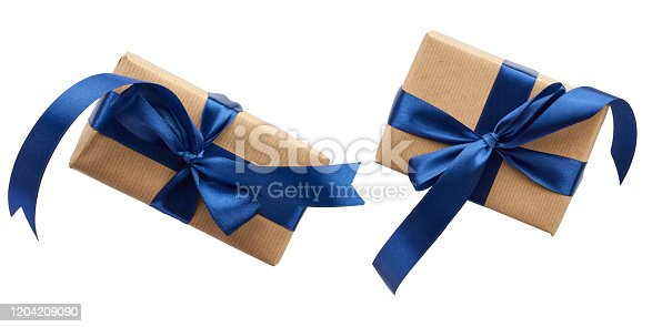 rectangle box wrapped in brown kraft paper and tied with a silk blue ribbon, top view, gift isolated on a white background, set