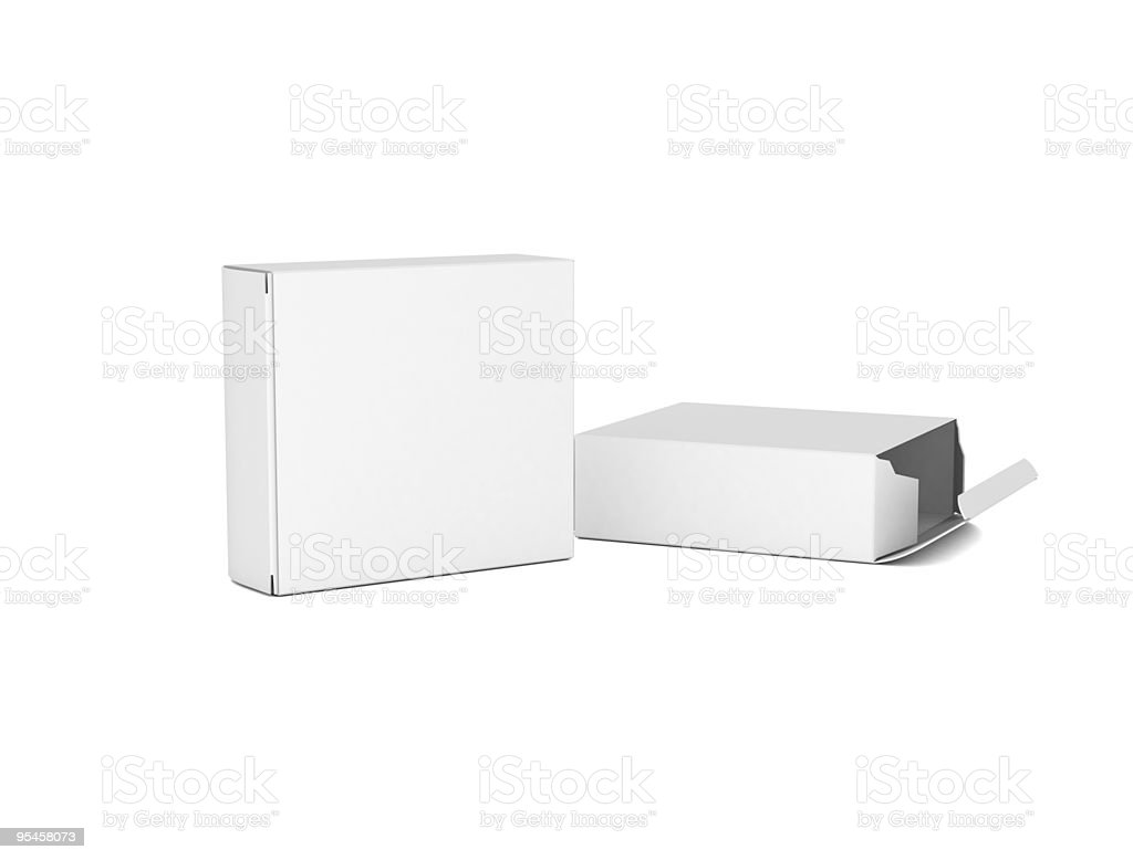 Rectangle cardboard boxes ones tipped over royalty-free stock photo