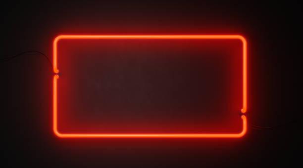 黑牆上的長方形紅霓虹燈 - 霓虹燈 個照片及圖片檔