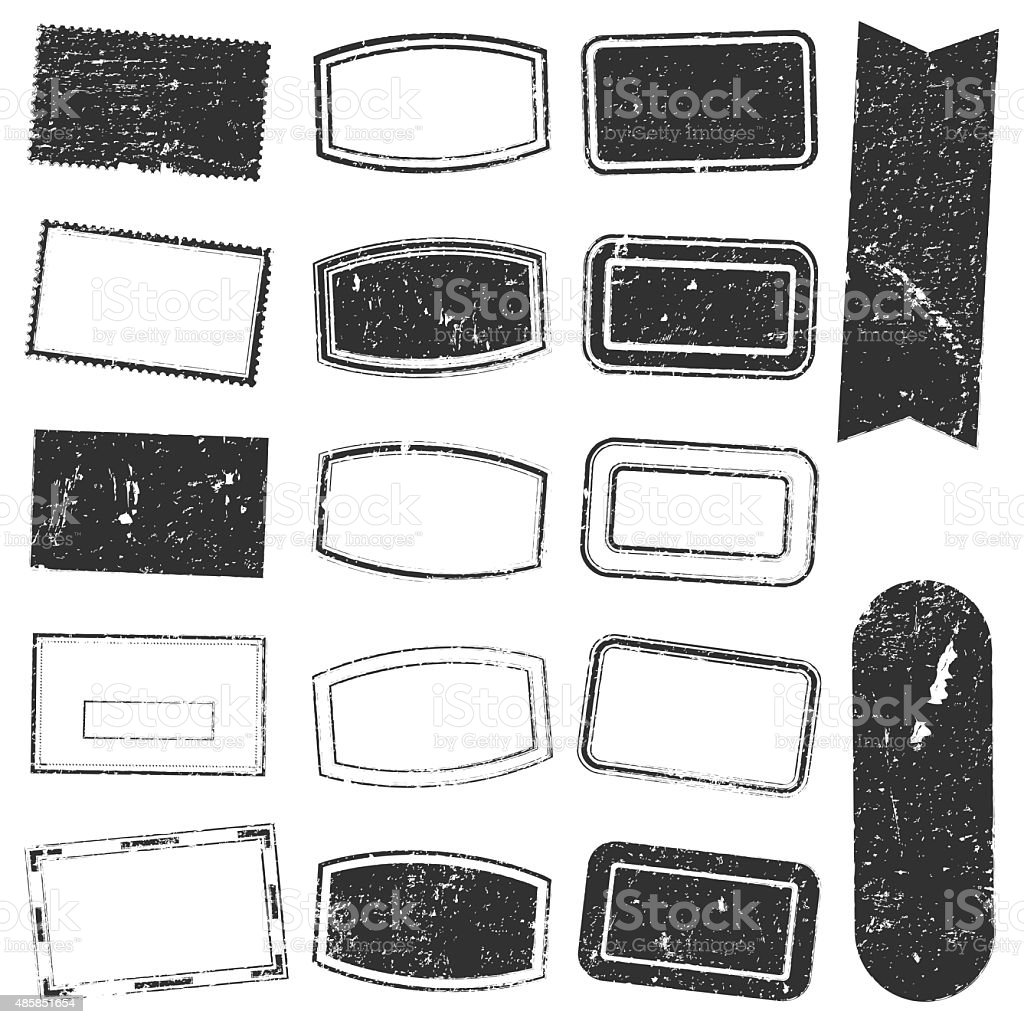 Rectangle Stamp Set Grunge stock photo
