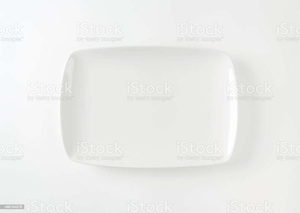 Rectangle white porcelain plate stock photo