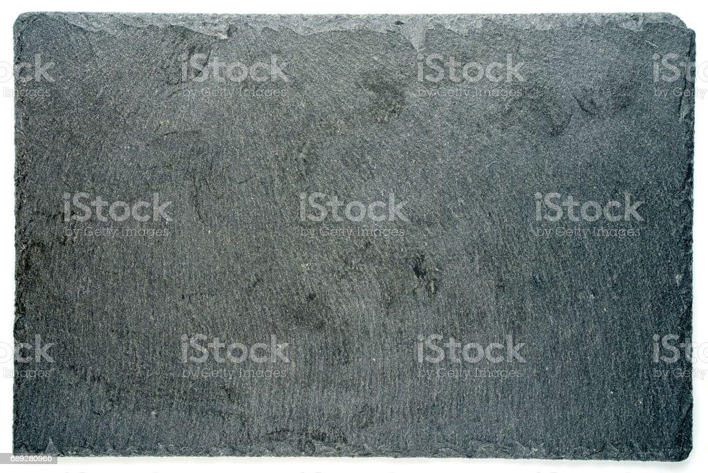 Rechteckige schwarz strukturiert Schiefer Board für Gerichte, die isoliert auf weißem Hintergrund – Foto