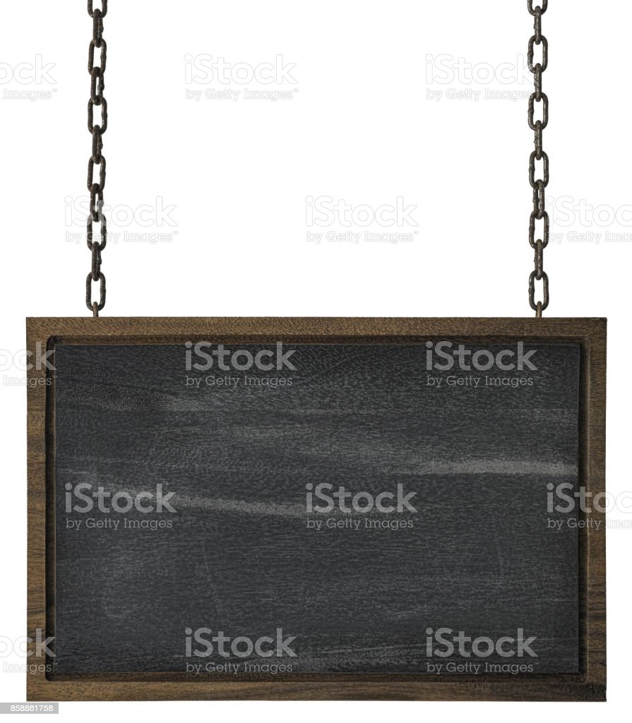 Rectangular blackboard wooden sign with wooden edges hanging by old chains. stock photo