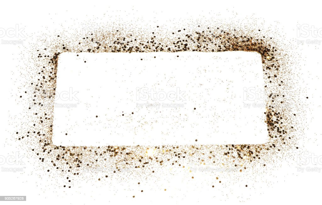 Rechteckiger Rahmen Rahmen Golden Glitter Auf Weißem Hintergrund ...