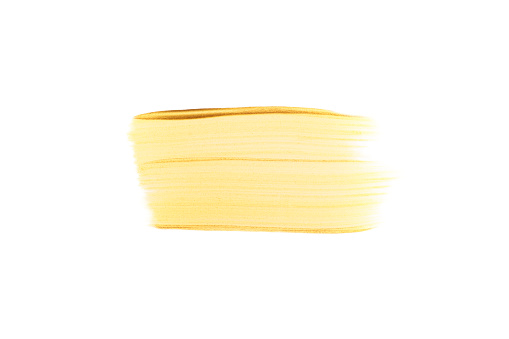 1202746861 istock photo Rectangular gold brush stroke or smear. Top view. Mock up with copy space. 1208415849