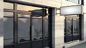 istock Rectangular Lightbox Sign Outside Shop Facade 1220087653