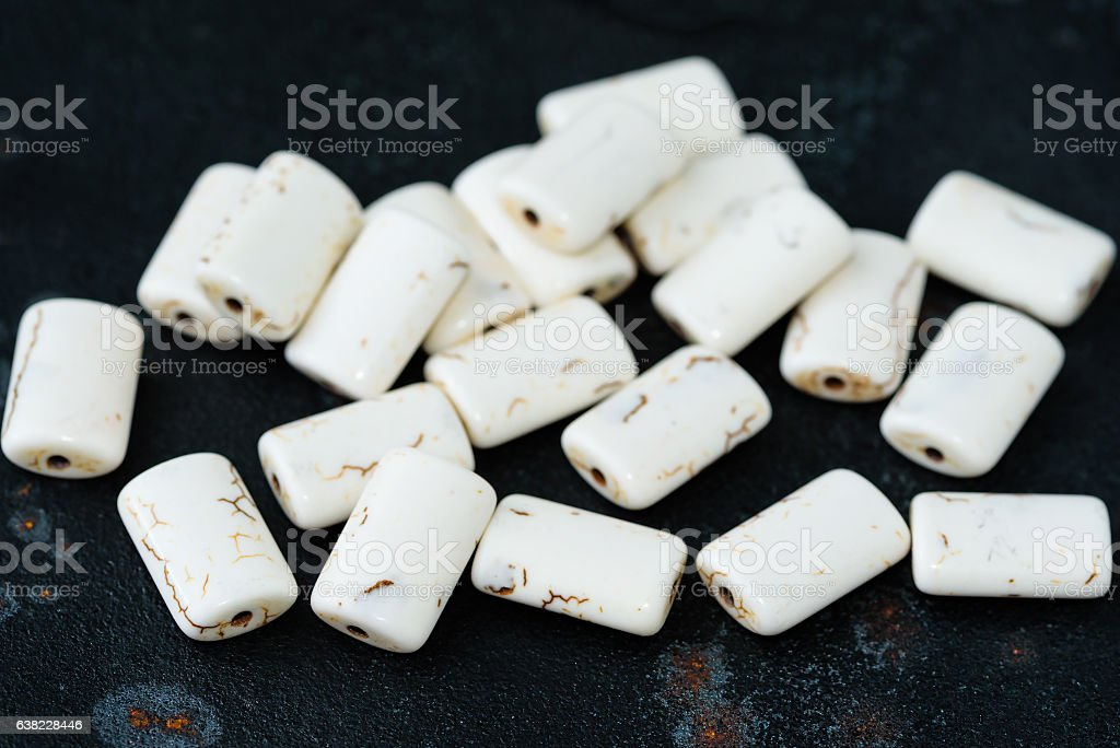 Rectangular magnesite beads stock photo