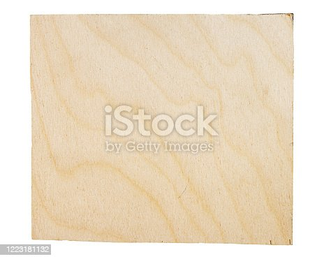 Rectangular piece of birch plywood with a natural texture. Isolated on white background