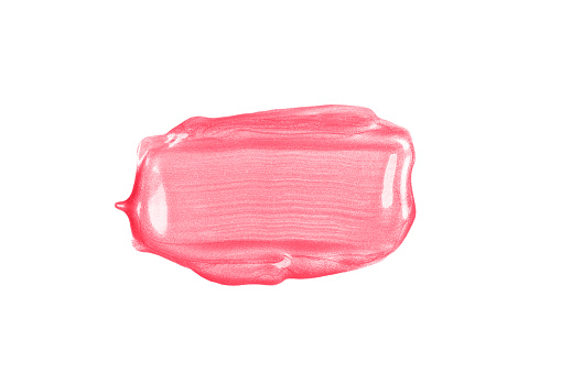 1202746861 istock photo Rectangular pink glossy brush stroke or smear cut out on white background. 1209926548