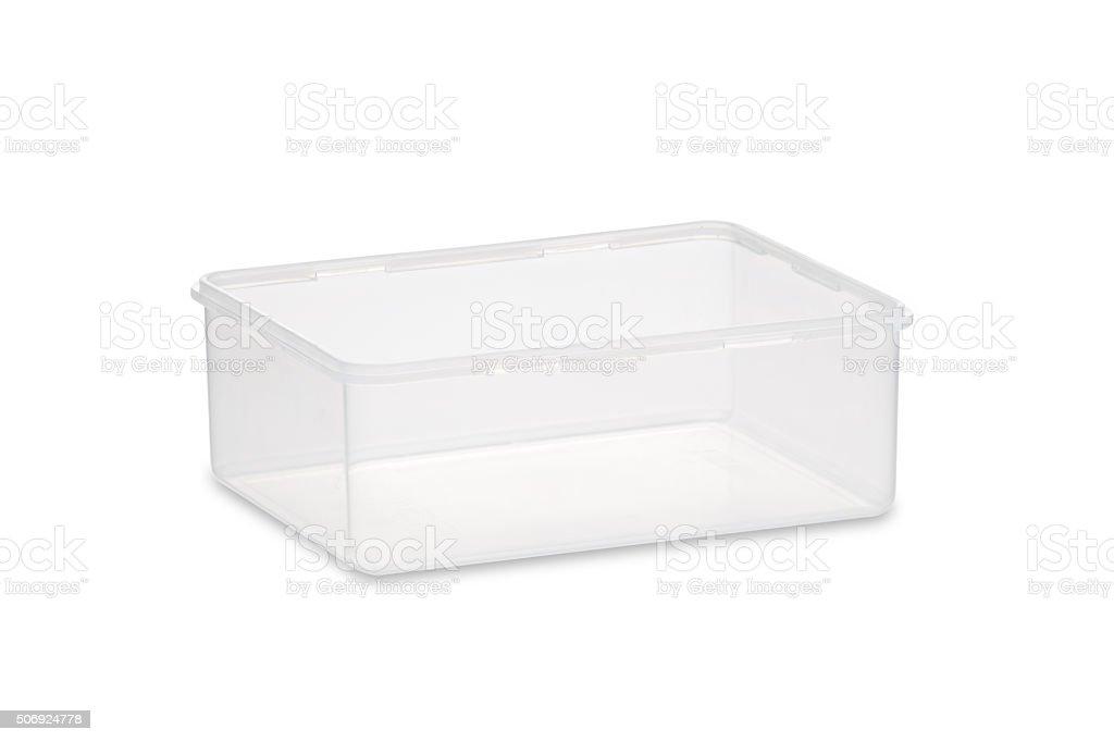 Rectangular plastic food container stock photo