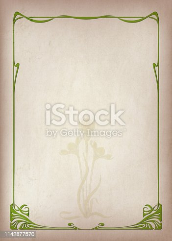 istock Rectangular retro frameworks and abstract flower on a piece of parchment. Art Nouveau style. A3 page proportions. 1142877570