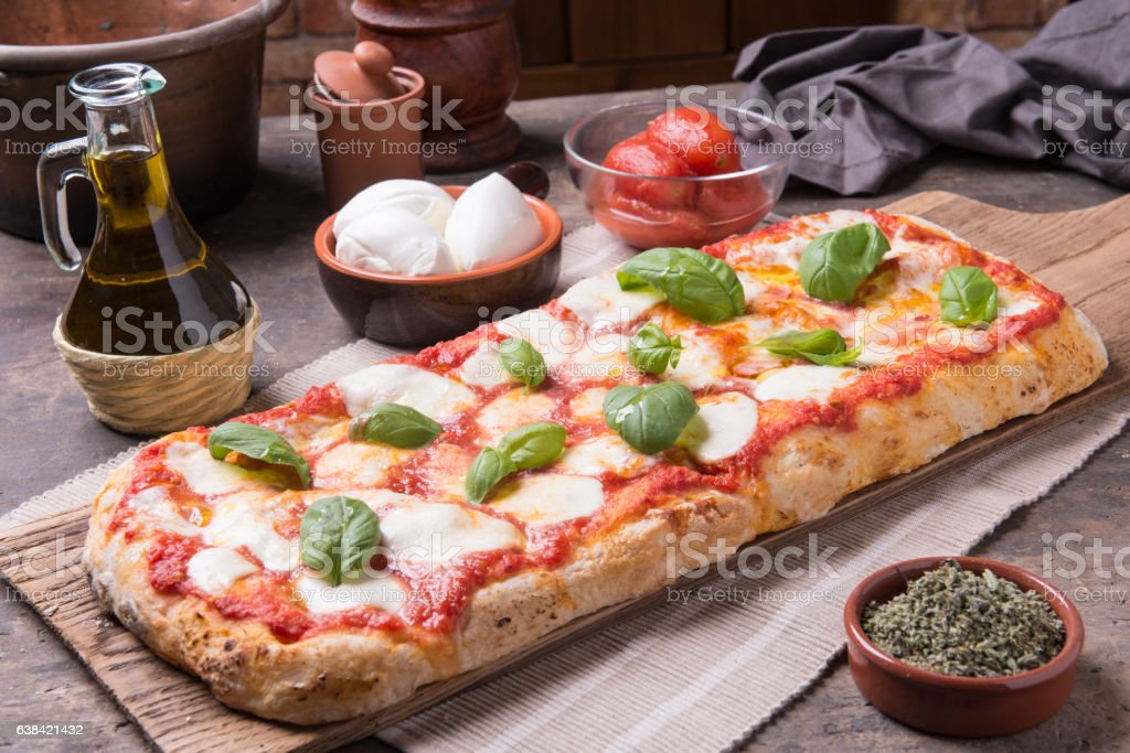Rectangular romana's pizza stock photo