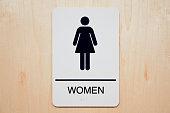 Rectangular sign for a women's restroom