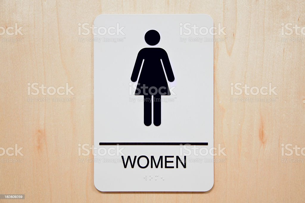 Rectangular sign for a women's restroom stock photo