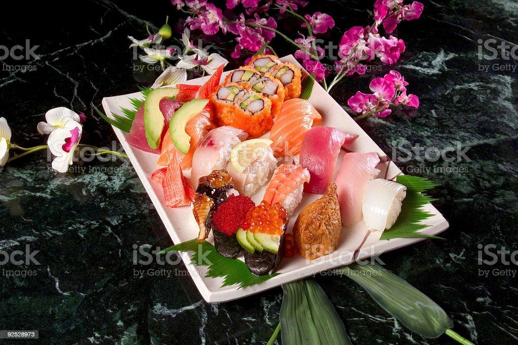 rectangular sushi tray royalty-free stock photo