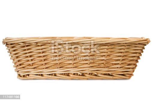 Wicker Basket shot from the front, isolated on white.