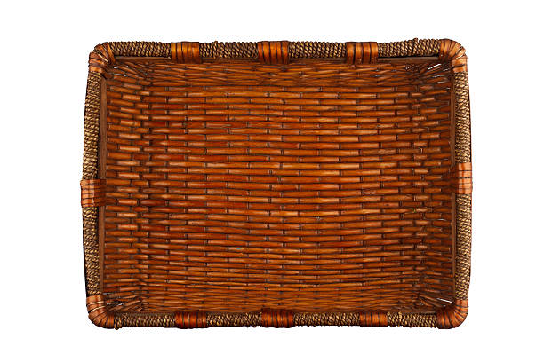 Rectangular wooden basket stock photo