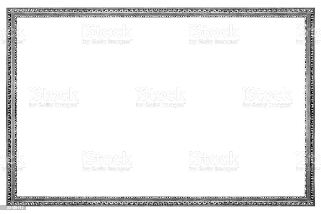 Rectangular Wooden Silver Picture Frame stock photo