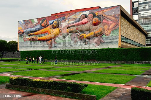Mexico City, Mexico - 2018: UNAM Rectorate building, displaying a Siqueiros mural, is located at the main campus, a UNESCO World Heritage Site.