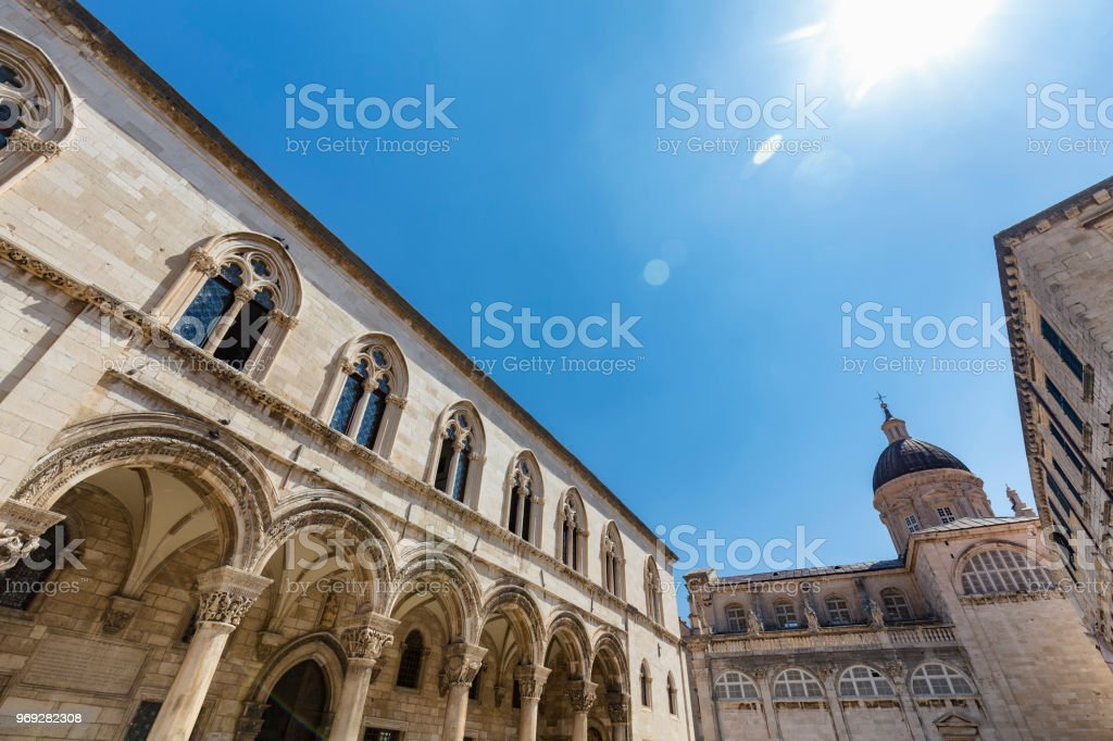 Rectors Palace and Dubrovnik Cathedral stock photo