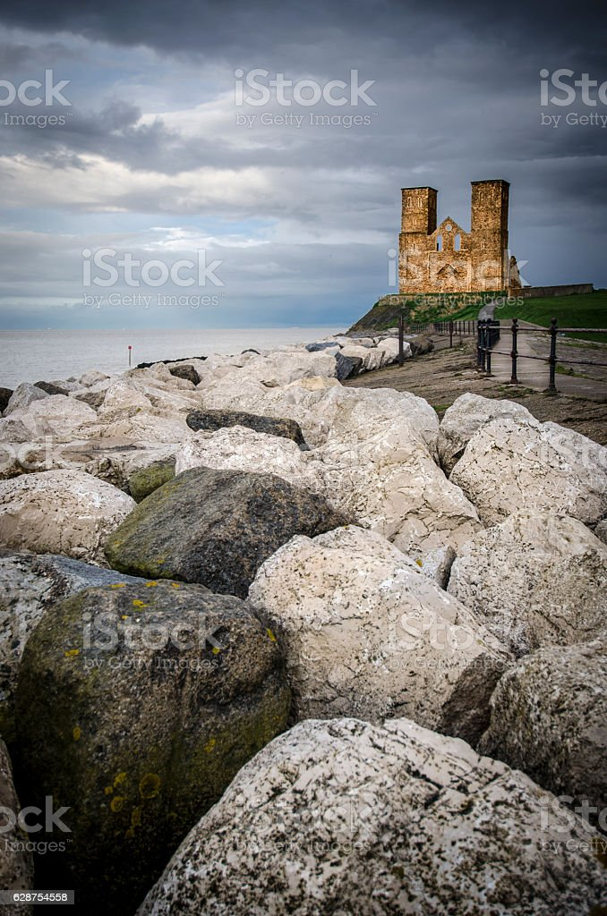 Reculver Towers at Dusk stock photo