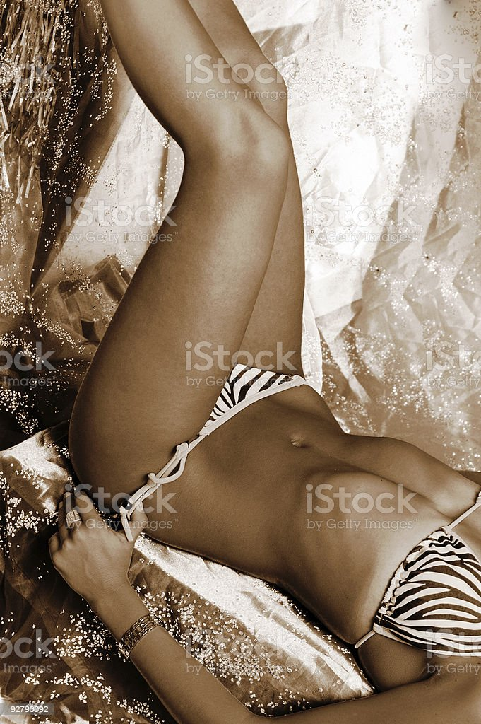 recumbent  female stock photo