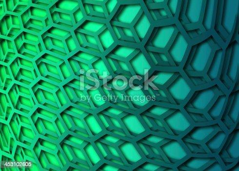 1176496357 istock photo recurrent curved hexagonal wallpaper, background. 453102605