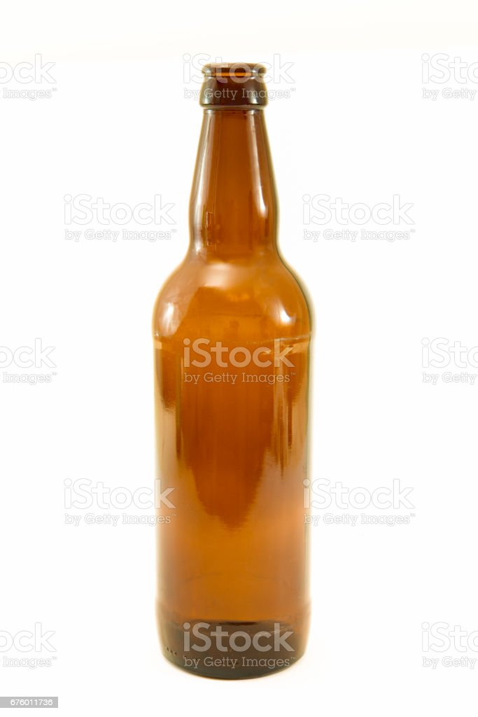 Recyclable brown glass bottle isolated by clipping path stock photo