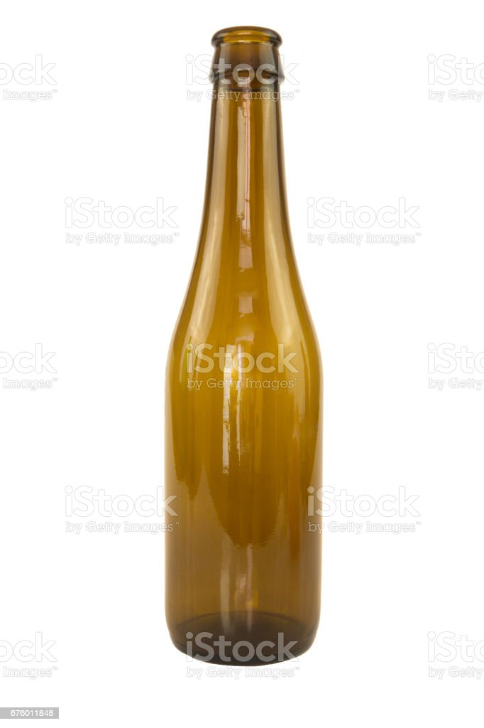 Recyclable brown glass bottle isolated stock photo