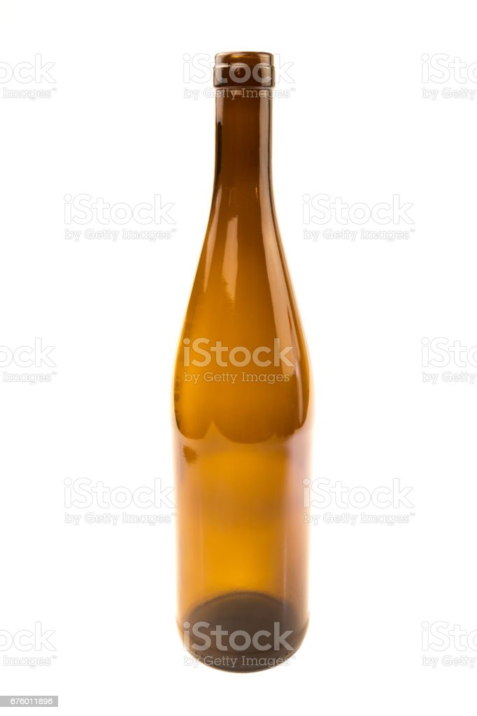 Recyclable brown wine glass bottle isolated stock photo