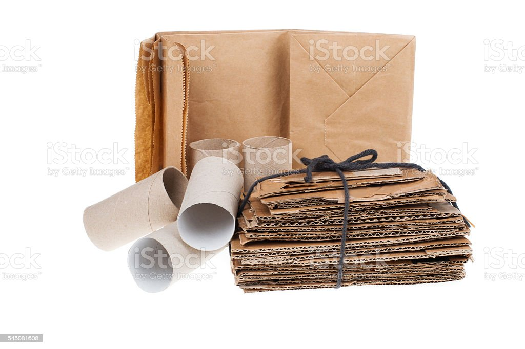 Recyclable cardboard waste isolated on white stock photo