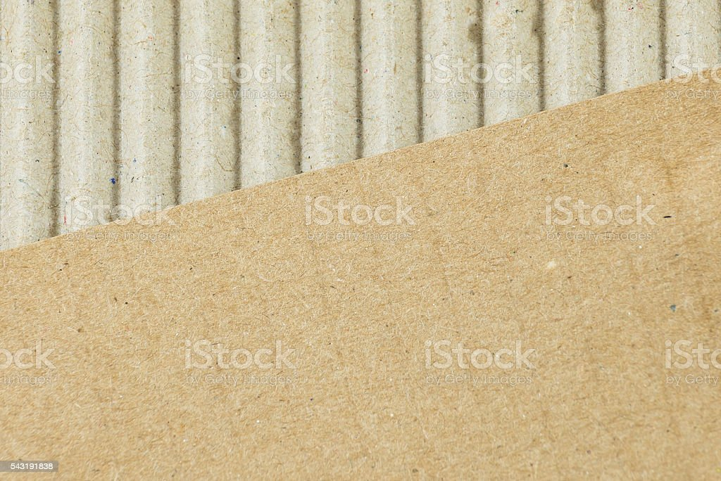 recyclable corrugated cardboard, packaging material, close up stock photo