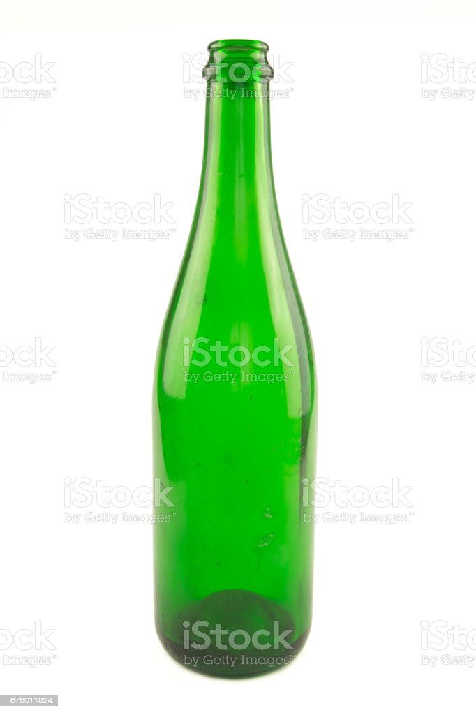 Recyclable green glass bottle stock photo