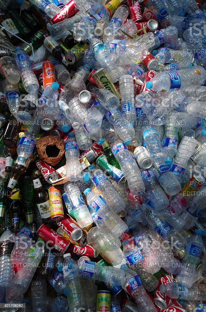Recyclable plastic bottles stock photo