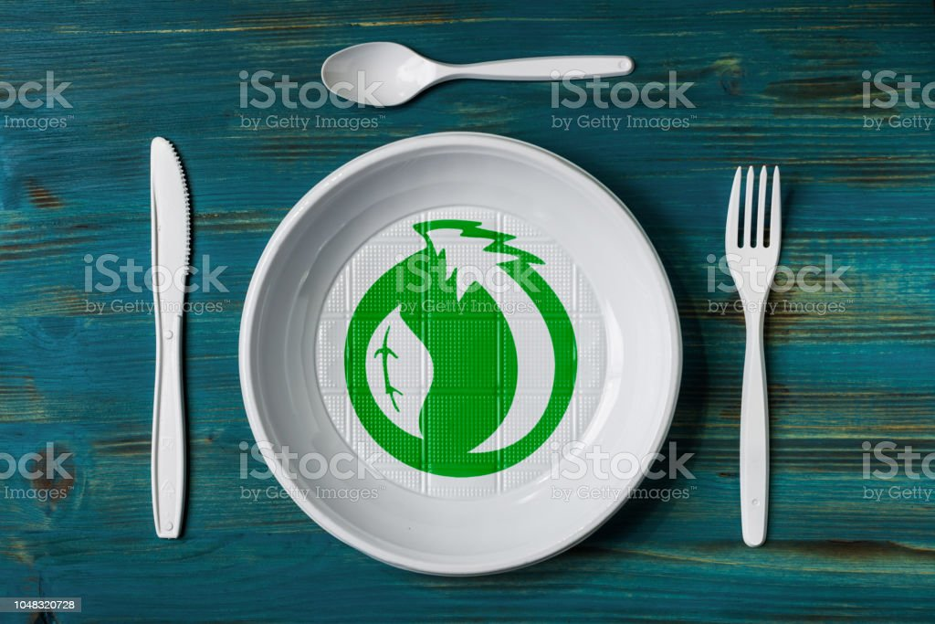 Recyclable plastic dish stock photo