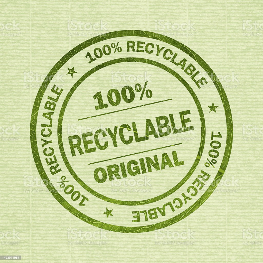 100% Recyclable - round stamp with clipping path stock photo