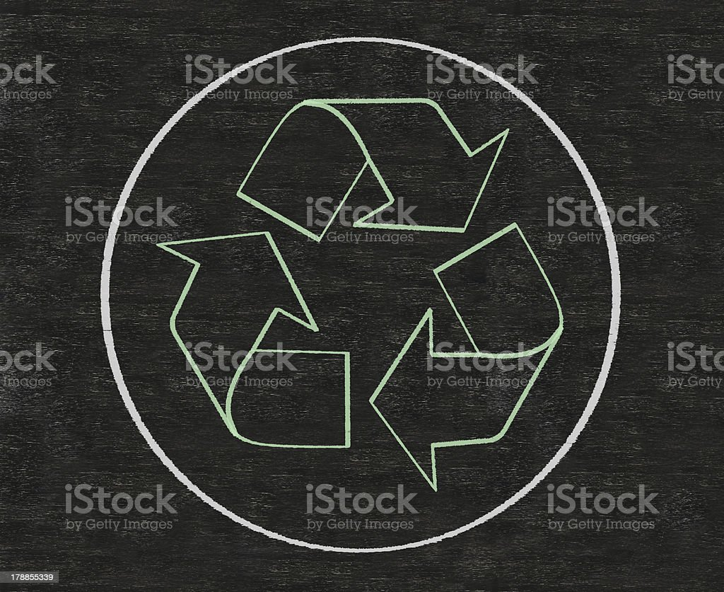 recycle and world written on blackboard background royalty-free stock photo