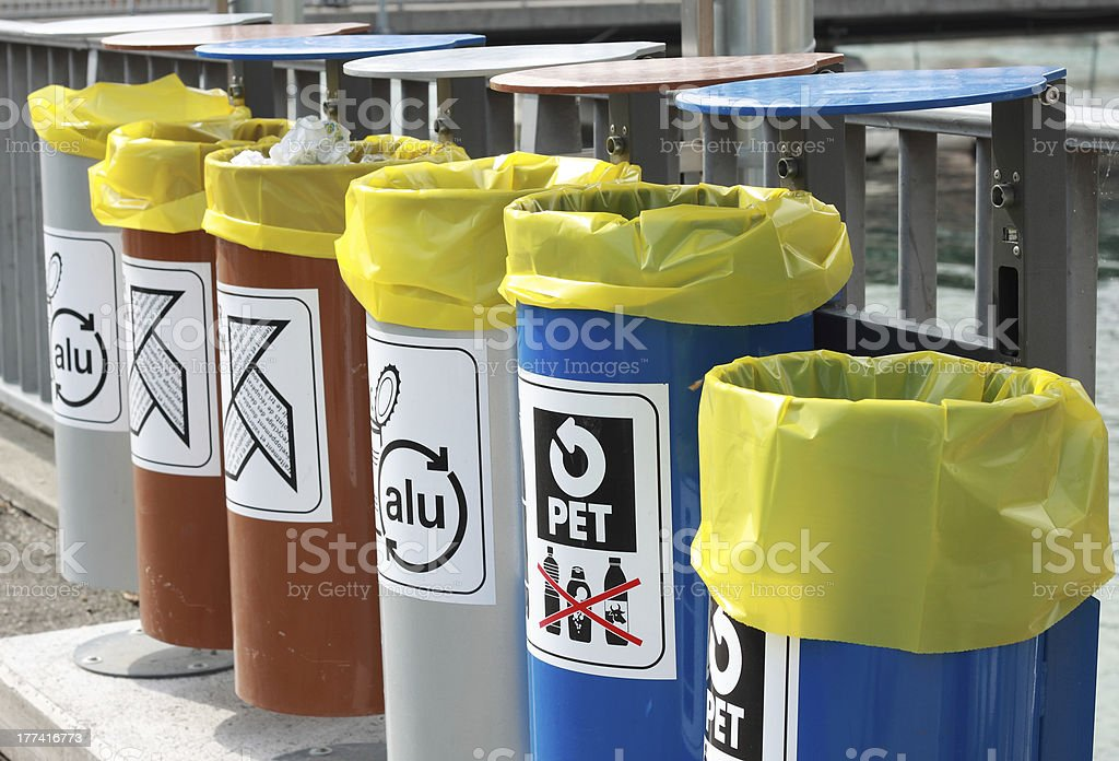 Recycle bin background royalty-free stock photo
