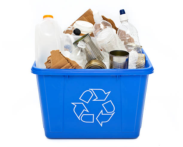 recycle bin isolated - recycling symbol stock photos and pictures