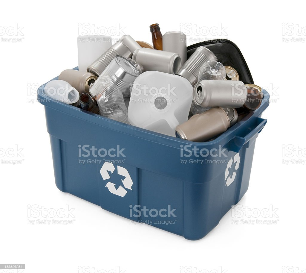 Recycle Cans, Bottles and Plastics - high angle royalty-free stock photo