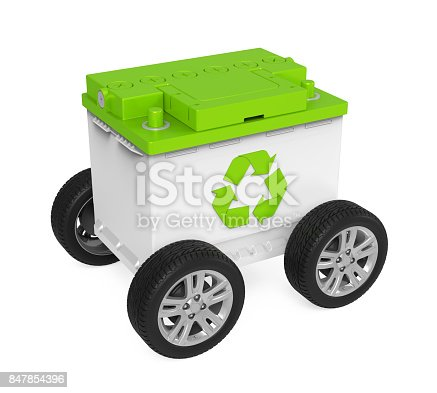 istock Recycle Car Battery with Wheels Isolated 847854396