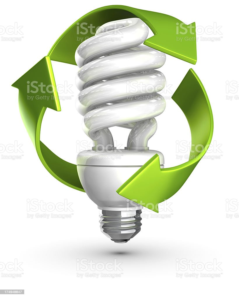 Recycle Compact Fluorescent Lightbulbs stock photo